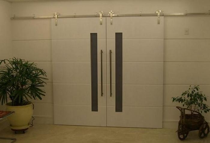 Porta De Correr 90 X 210 Com Espa O Para Vidro Friso