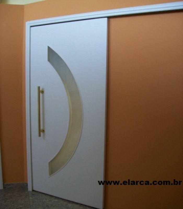 PORTA CORRER ( KIT ) 60 ou  70 x 210-0-5,5 GEMELI - COM ESPAÇO PARA VIDRO (ARCO) - PRIMER BRANCA - AUTOMONTAVEL - ENTREGA EM 15 DIAS.